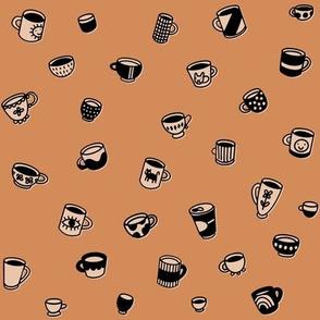 Tiny coffee mugs and teacups