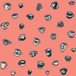 Tiny coffee  mugs and teacups and tasse