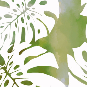 Jumbo Monstera Watercolor-gray-green