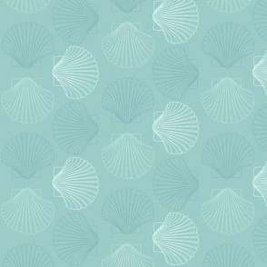 Seashells in aqua