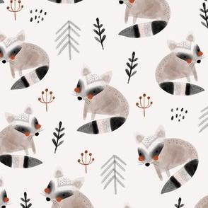 Creative watercolor raccoons