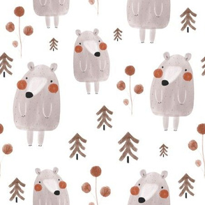 Funny watercolor bears
