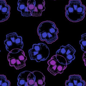 Purple Skulls on Black