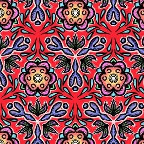 Red Floral Ethnic Folk