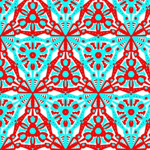 Red Cyan Blue Christmas Triangles
