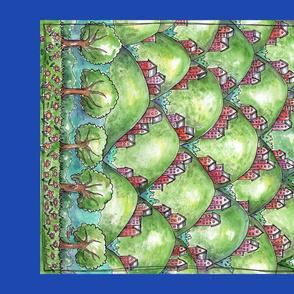 Water color art tea towel - houses on hills