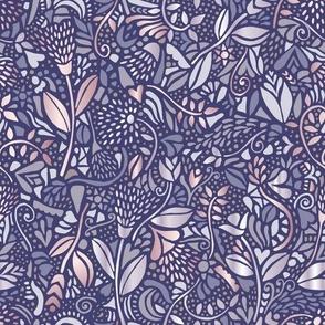 neutral bohemian flowers blue