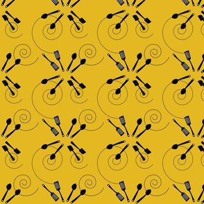 kitchen cooking on yellow