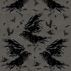 Crows on Grey
