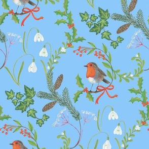 Christmas chintz with robin on light blue