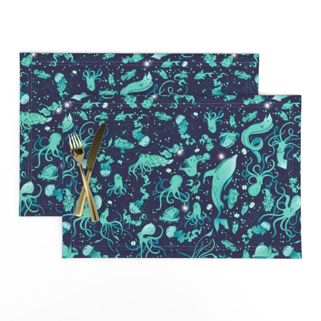 Lamona Cloth Placemats featuring Sea Life Ditsy 2 by jadegordon