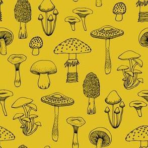 Midnight Mushrooms - Mustard - Medium