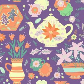 Christmas Tea Time in Purple
