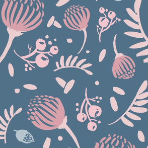 Fall Flowers - Stone Blue and Blush Pink