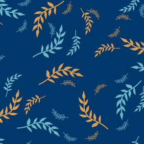 Whimsical Leaves in Blue
