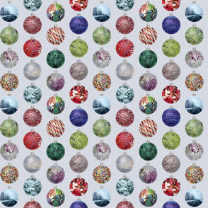 Christmas holiday ornaments - silver background