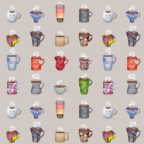 coffee cup series - 16 mugs on beige