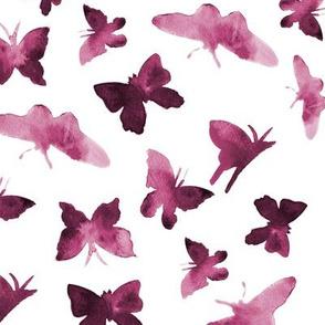 Burgundy butterflies • watercolor for modern nursery/ home decor
