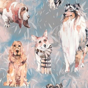 sweet dogs tan on light blue pink and grey watercolor FLWRHT