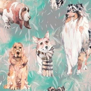 sweet dogs tan on mint green and grey watercolor FLWRHT