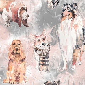 sweet dogs tan on white pink and grey watercolor FLWRHT