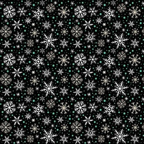 Small Festive Flakes on Black