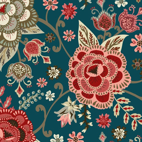 Classic Chintz - Teal - Large
