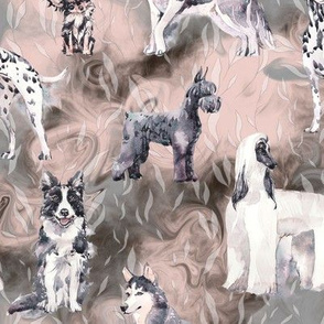 sweet dogs tuxedo Black and White on brown pink and grey watercolor FLWRHT
