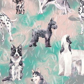 sweet dogs tuxedo Black and White on mint green and grey watercolor FLWRHT