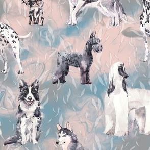 sweet dogs tuxedo Black and White on light blue pink and grey watercolor FLWRHT