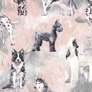 sweet dogs tuxedo Black and White on white pink and grey watercolor FLWRHT