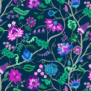 Jewel-tone Chintz in Original colors on dark blue