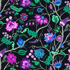Jewel-tone Chintz in Original colors on black