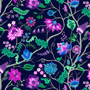Jewel-tone Chintz in Original colors on dark blue