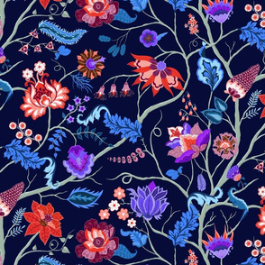 Jewel-tone Chintz in blue and red on dark blue