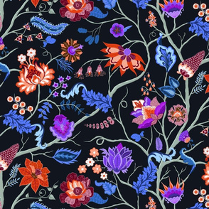 Jewel-tone Chintz in blue and red on black