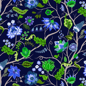 Jewel-tone Chintz in blue and green