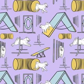 Simple Samoyed agility dogs - purple