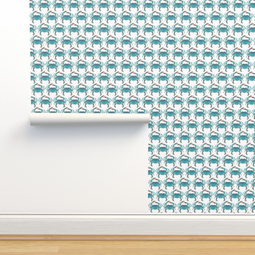 Isobar Durable Wallpaper featuring Blue Crab Jubilee // MEDIUM WHITE by nanshizzle