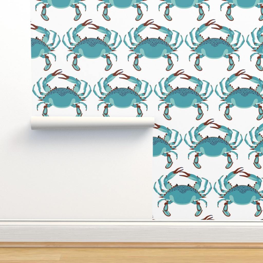 Isobar Durable Wallpaper featuring Blue Crab Jubilee // JUMBO WHITE by nanshizzle