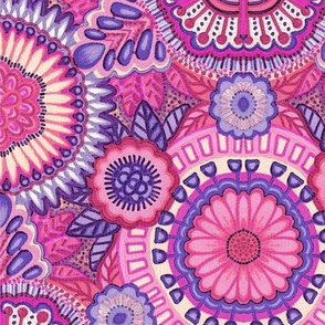 Kaleidoscopic Floral Pink and Violet