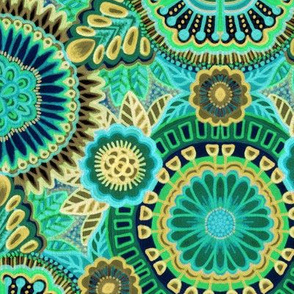 Kaleidoscopic Floral Turquoise and Flax