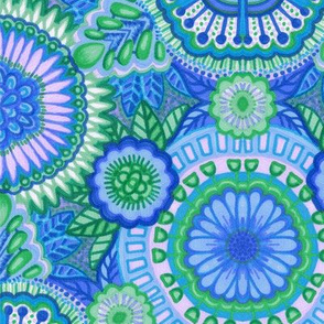 Kaleidoscopic Floral Light Blue and Green