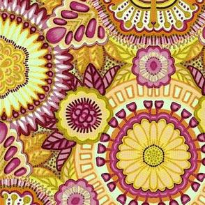Kaleidoscopic Floral Yellow Pink Orange
