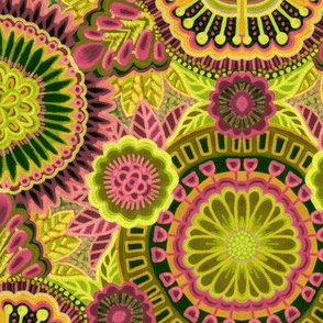 Kaleidoscopic Floral Chartreuse and Rose