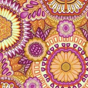 Kaleidoscopic Floral Orange and Pink