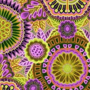 Kaleidoscopic Floral Orchid and Lemon Lime