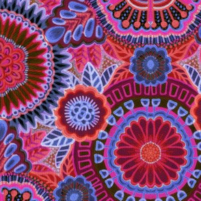 Kaleidoscopic Floral Ruby and Denim