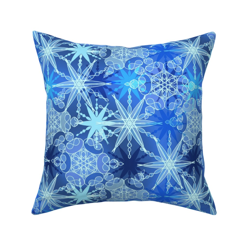 Catalan Throw Pillow featuring Kaleidoscope Moody Blue Flakes by elramsay