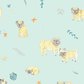 kristine's watercolor pugs